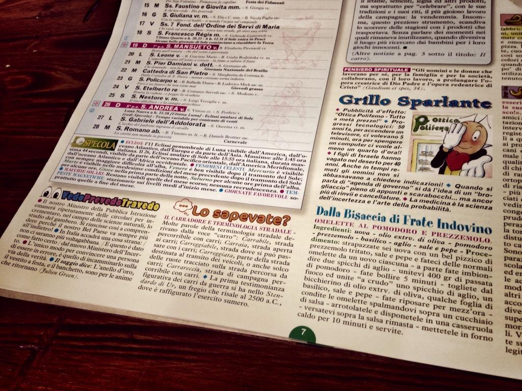 Calendario di  Frate Indovino..